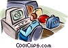 Airport security checking luggage Vector Clipart illustration