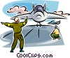 Air force personnel landing jet on air force carrier Vector Clip Art image
