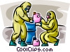 Security personnel handling toxic chemicals Vector Clip Art picture