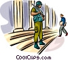 Marine standing on guard protecting building Vector Clip Art graphic