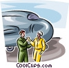 Air force personnel shaking hands by bomber Vector Clipart picture