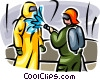 Security personnel washing toxic chemicals off body suit Vector Clipart image