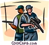 Security personnel with machine guns Vector Clip Art picture