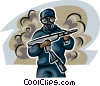 Marine wearing a mask holding a machine gun Vector Clipart picture