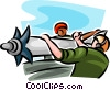 Air force personnel loading a missile Vector Clipart illustration