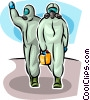 Security personnel wearing safety body suit Vector Clipart picture