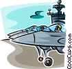 Jet Fighters on aircraft carrier Vector Clipart image