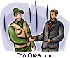 Marine shaking hands with civilian Vector Clipart illustration