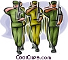 Marines marching in formation Vector Clip Art picture