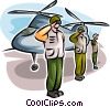 Air force personnel saluting by helicopter Vector Clipart picture