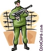 Marine standing on guard with machine gun Vector Clipart graphic