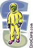Security personnel wearing Toxic Chemical suit Vector Clipart illustration