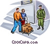Air travelers passing security personnel Vector Clipart image