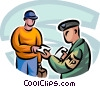 Military police checking travelers ticket Vector Clip Art picture