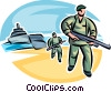 Marines landing on beach with machine guns ready to fight Vector Clip Art graphic