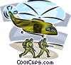 Marines with machine guns leaving helicopter Vector Clipart illustration