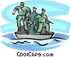 Navy seals with machine gun in a boat Vector Clipart illustration