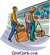 Air travelers checking in at ticket booth Vector Clipart graphic