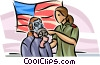Security personnel demonstrating how to use a gas mask Vector Clip Art picture