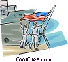Navy sailors raising the American flag Vector Clip Art picture