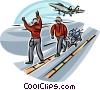 Air force personnel with cart of missiles Vector Clip Art picture
