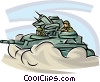 Army personnel driving a tank Vector Clipart graphic