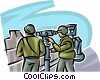 Marines scouting the enemy with a telescope Vector Clipart picture