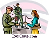 Airport security checking woman's information Vector Clipart image