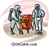 Security personnel looking in mailbox for toxic chemicals Vector Clipart image