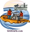 Navy seals in boat approaching aircraft carrier Vector Clip Art picture