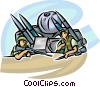 Marines in armored vehicle with missiles Vector Clipart illustration