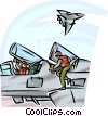Air force pilots getting ready for dog fight Vector Clipart graphic