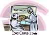 Lab technicians handling chemicals Vector Clipart graphic