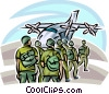 Marines loading into a cargo plane Vector Clip Art picture