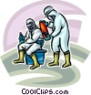 Security personnel Toxic Chemical suits Vector Clip Art image