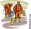 Security personnel in Toxic Chemical suits running drills Vector Clipart picture