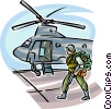Marine loading into helicopter Vector Clip Art image