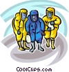 Security personnel Toxic Chemical suits Vector Clip Art graphic
