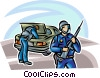 Officers of the Law and Police checking trunk of car Vector Clip Art picture