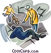 Emergency Rescue and Relief Services helping hurt person Vector Clipart picture