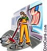 Emergency Services sweeping up after disaster Vector Clipart illustration