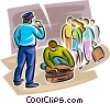 Officers of the Law and Police checking peoples luggage Vector Clipart picture