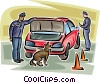 Officers of the Law and Police with bomb sniffing dog Vector Clip Art picture