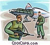 Marines with machine guns loading cargo plane Vector Clip Art picture
