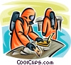 Security personnel handling Toxic Chemicals Vector Clipart picture