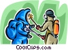 Security personnel washing Toxic Chemicals off Vector Clip Art picture