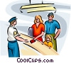Air travelers checking in at airport Vector Clip Art image