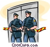 Officers of the Law and Police standing guard Vector Clipart illustration