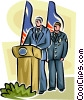 President giving speech with guard behind him Vector Clipart illustration