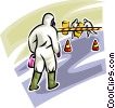 Security personnel removing Toxic Chemicals Vector Clipart illustration